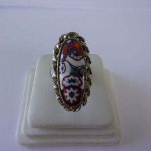 Vintage Art Glass Elongated Ring Adjustable Size